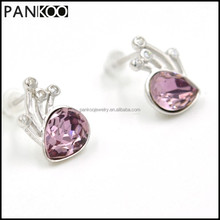 Stylish Purple Crystal Stud Platinum Plated 925 Sterling Silver Earrings For Women