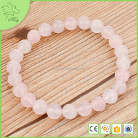 2016 Custom Products for Import, Love Pink Rose Quartz Natural Stone Beaded Stretch Bracelet
