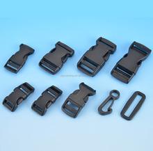 Custom black curved plastic side release safety buckle