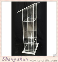 High quality clear organic glass church pulpit/acrylic podium/lectern/rostrum