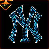 Yankees team rhinestone motif for sports t-shirts