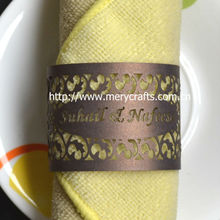 Hot sale wedding favors! laser cut filigree paper napkin rings indian wedding party favors from Mery Crafts