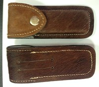 Leather Sheaths for Hunting Pocket Knives Dark Brown Color