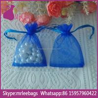 China manufacturer small blue organza drawstring gem bags