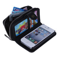 BRG Wholesale 2 in 1 Magnet Detachable Wallet Leather Bag Case Cover for iPhone 4s