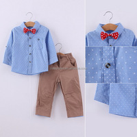 Top Quality Polka Dots & Pink Bow Long Sleeve Pants Three Pieces Suits Boy Clothing Set Casual Children Overall CS80806-36