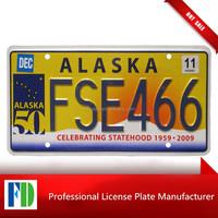 Alaska 2011 CELEBRATING STATEHOOD GRAPHIC License Plate NATURAL,characteristic car number plate