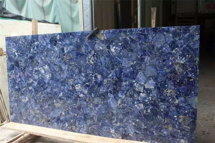 Detail Stone Slabs : Luxury translucent blue semiprecious stone slab from china