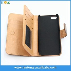 New arrival simple design flip genuine leather case for iphone for 2015