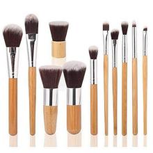 11pcs Bamboo make up brush, Nylon hair make up brushes with free sample