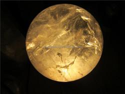 clear quartz rock crystal sphere healing balls,crystals healing balls wood pedestal with LED light