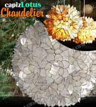 Capiz Shell Lotus Flower Ball Chandelier