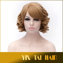 Fashion bloned hair Women ladies short curly Synthetic hair Cosplay Wigs/wig 2015