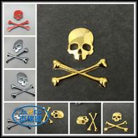 3D zinc alloy skull head car emblem,skull plating badge