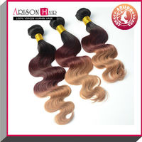 Ombre hair weaves/three tone ombre remy hair weaving/ombre color human hair weft 1b/33#/27#