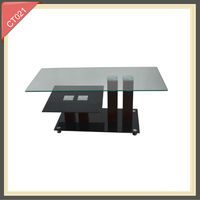 long narrow recycled wood bent glass coffee table CT021