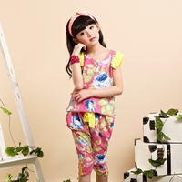 beautiful flower printing boutique girls clothing set wholesale