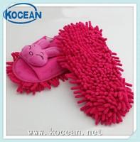pink cartoon chenille indoor lady mop slipper