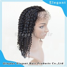 World best selling products 18inch 120%density malaysian hair Jerry curly hair full lace wig with baby hair