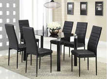 High quality modern durable black dining table and chairs