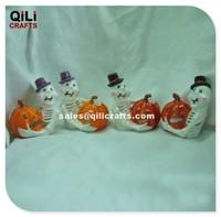 Ceramic Halloween Indoor Decor Ghost On Hat With Pumpkin