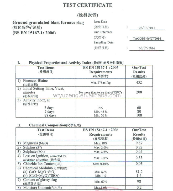 Ground Granulated Blast Furnace Slag Hmis : 지상 입상 고로 슬래그 ggbs ggbfs 광재 상품 id korean