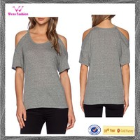 Ladies fashion new style cut shoulder open shoulder tee shirt