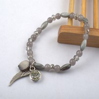 B7761-01Beautiful Handmade the Tibetan Silver Black Shells Strength Bracelet Charm Bangle with Angle Wing