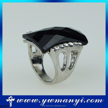 Hot new products for men alloy diamond big black crystal new arrival ring with wholesale
