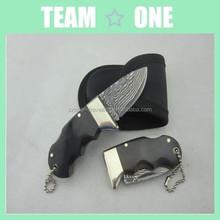 Damascus Steel Mini Pocket Folding Knives Rare Black Brass Horn Handle