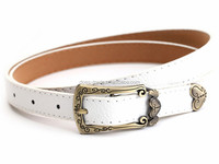 Hot sale Leather PU Belt for Woman with Big Gold Buckle
