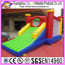 Colorful inflatable moonwalks with obstacle wall for kids