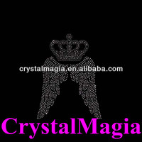2014 crown and wings decorative nail heads crystal hot fix appliques