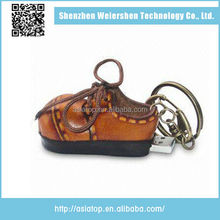 Business Gifts Custom Logo Leather shoe key chain usb flash drive leather
