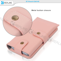 top selling new design two metal button closure credet card slots cash pocket phone pouch handmade fancy leather mobile pouch