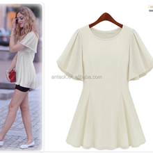 HJL-1114 Veri Gude 2015 summer new fashion European women's slim lotus leaf sleeve short dresses