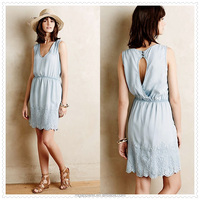 china factory supply sexy women casual back cut out embroidered chambray dress