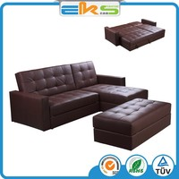 FABRIC UPHOLSTERED BONDED LEATHER MODERN LIVING ROOM STORAGE SMART CONVERTABLE CORNOR SOFA BED