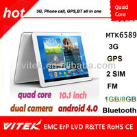 """10.1 """" MTK 6589 3G BT GPS Quad core CPU Android Phone tablet"""