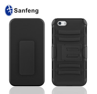 The biggest china factory OEM cell phone case for iphone 6 with belt cip&holster , 3 in 1 holster case for iphone 6 with stand