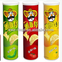 Tube packing stackable potato chips