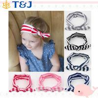 <<<Hot Sale Baby&Girl&Kids Stripe Rabbit Bow Turban Bowknot Hairband Head Wrap Hair Band Accessories Soft Stretch Headband/