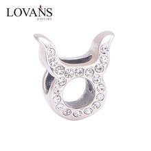 nuovo segni zodiacali Toro spianare pietre sterling silver cristallo perle di vetro x321g