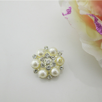 Glitter Metal Round Pearl Buttons for Wedding Decoration