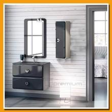 SP-5053A 700mm width wenge color bathroom cabinet black glass top bath furniture