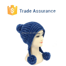 Custom Acrylic Knitted Hat, Knit Hat With Ball Top, Knitted Hat With Earflap