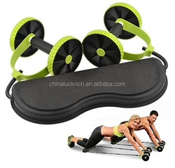 Core Dual Wheels Ab Roller Pull Rope Abdominal Waist Slimming Trainer Workout Exercise Fitness Equipment