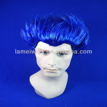 Hot selling human hair wigs for cosplay short blue man wigs party wigs