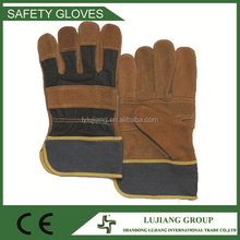 Top quality cheap price patch work gloves with jean upper