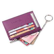 Promotional Genuine Leather Purple Slim Card Case Super Thin Fashion Card Holder Compact Wallet With Ring Chain